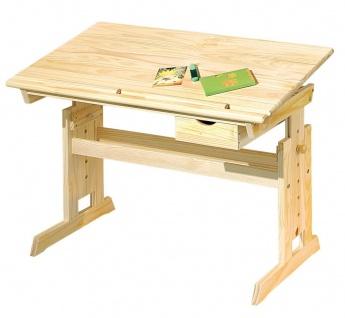 Kinderschreibtisch höhen- neigungsverstellbar Schublade Schreibtisch Massivholz natur L-Jules