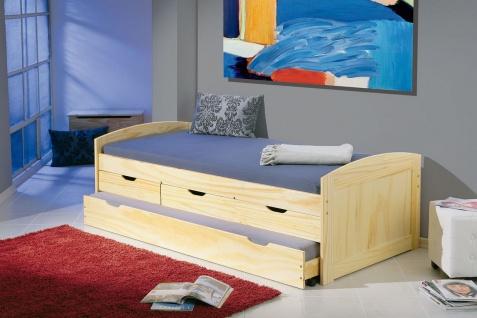 Jugendbett Bett 2 Längen 2. Schlafmöglichkeit ausziehbar Lattenrost Massivholz Kiefer L-Morsela