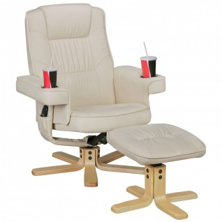 Relaxsessel inkl. Hocker Wipp- Drehfunktion Rücken verstellbar Getränkehalter Sessel 2 Farben W-RS54