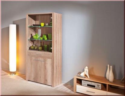Vitrine 190 x 93 cm Glasvitrine LED Beleuchtung 2 Farben L-Aquilla-11/13
