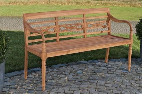 Teakbank Gartenbank Teakholz Bank massiv Holz Länge 120 cm 150 cm Beine gedrechselt CL-Maja