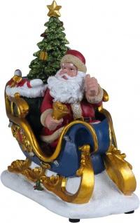LED beleuchteter Schlitten Weihnachtsmann Nikolaus Weihnachtslieder schaltbar H-Weihnachtsschlitten