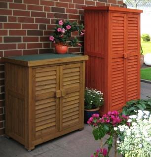 Aufbewahrungsschrank Outdoor 2 Größen 2 Farben wetterfest Gartenschrank Massivholz LC-Biene