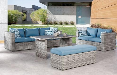 4-tlg Dining-Lounge inkl. Kissen Sitzgruppe Gartengarnitur Sofa Bank Lounge Tisch BF-Cora