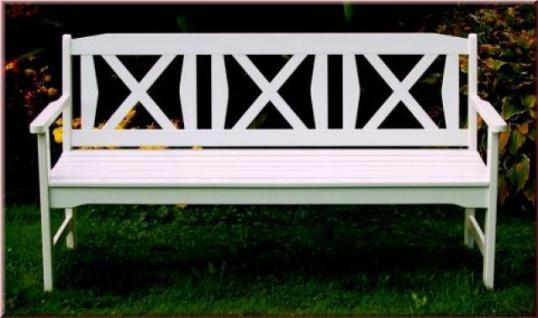 Gartenbank 160 cm Bank Robinie Massivholz 2 Farben natur weiß WH-Fiore-3