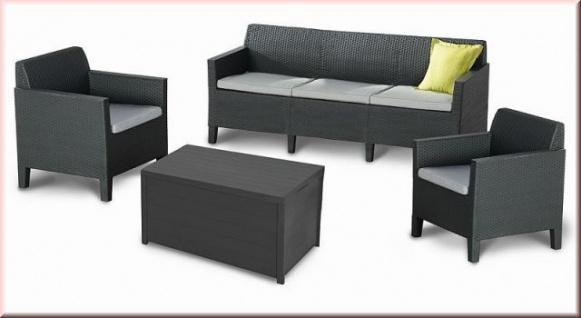 3-4-tlg Lounge Sitzgruppe 3 Größen Gartenlounge inkl. Kissen Sessel Sofa Tisch Kissenbox BF-Angie