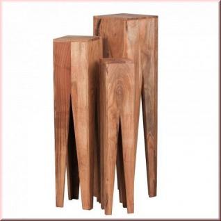 3er Set Beistelltisch Massivholz Konsole 3 Größen Holzarten Akazie Sheesham Säule Vollholz W-B31565