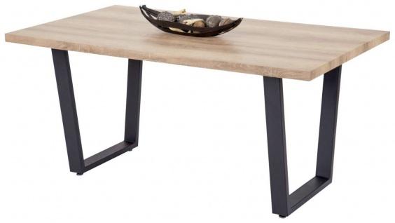 Esstisch 160 x 90 cm Tischplatte sonoma U-Bein-Gestell Metall schwarz Tisch R-Jena