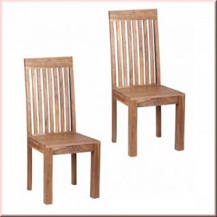 2er Set Stuhl Massivholz 2 Holzarten Akazie Sheesham 2 Stühle Holzstuhl Unikat handgefertigt W-ES153