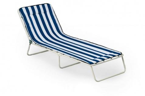 Dreibeinliege verstellbar 2 Dessins blau weiß Liegestuhl Liege zusammenklappbar BF-Gardasee-L