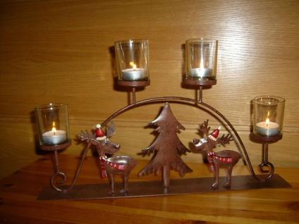 Teelichthalter Rentier Metall braun 4x Glas Schwibbogen Rost-Optik außen Weihnacht F-Rudolf - Vorschau 2