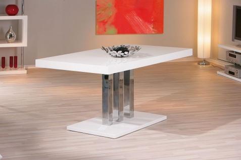 Esstisch Säulentisch 2 Farben Sonoma Eiche Hochglanz weiß 160 x 90 cm L-Prescino