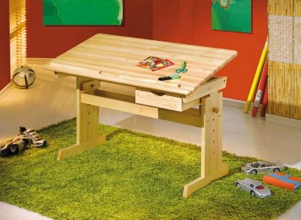 Kinder-Jugend Schreibtisch höhen- neigungsverstellbar Schublade Massivholz natur L-Jules