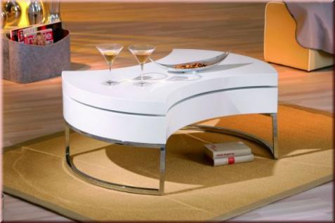 Couchtisch 2 Ebenen drehbar 2. Tischplatte Ablagemulden hochglanz weiß L-Turna