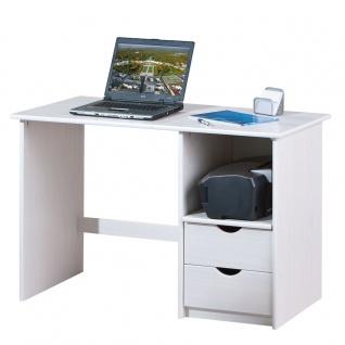 Schreibtisch Massivholz Kiefer 2 Farben natur weiß 115 x 55 cm L-Sophie