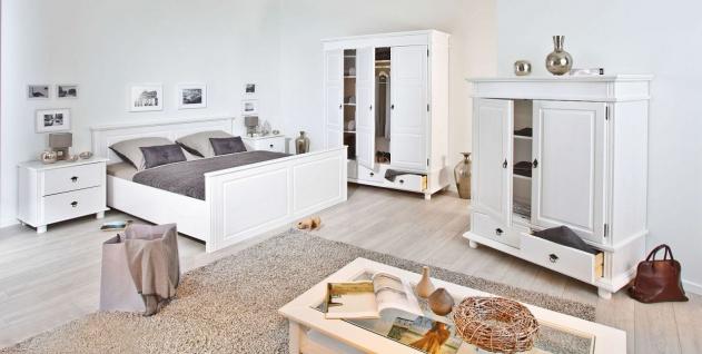 Schrank Garderobenschrank Landhausstil Massivholz 2-türig weiß 200 cm hoch L-Dank-2 - Vorschau 4