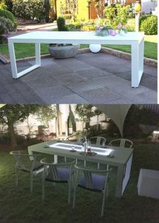 Exklusiver Gartentisch beleuchtet 220 x 100 cm Solarpaneel Glasplatte weiß LC-Exquisit