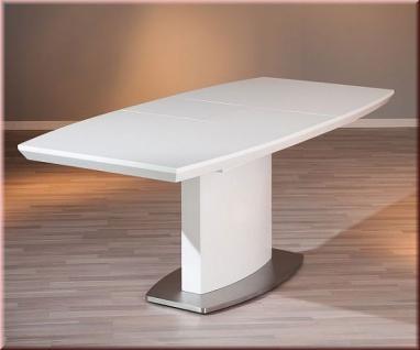 Tisch ausziehbar Esstisch Ausziehtisch Konferenztisch Hochglanz weiß Standsäule L-Wyoming