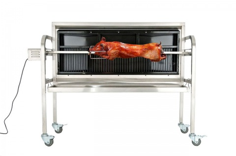 Grill Spanferkelgrill Holzkohlegrill bis 70 kg Edelstahl Rollen Motor CL-Bacon