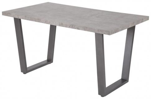 Esstisch 140 x 80 cm Beton-Dekor Metallgestell graphit Tisch grau R-Wien