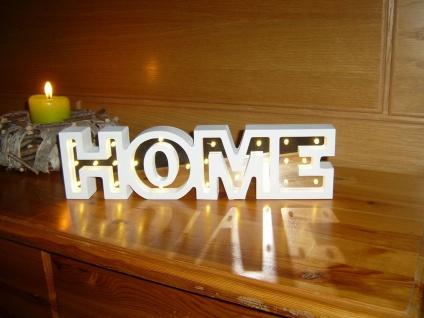 LED Leuchtdekoration HOME Schriftzug Spiegeleffekt 24 LED warmweiß 34 x 9 cm F-Home