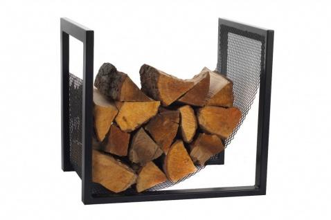 Brennholzregal Stahl schwarz Handarbeit Kaminholzständer Matte N-BR-118