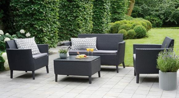 4-tlg Lounge Sitzgruppe Kissen 2 Sessel 2-Sitzer Tisch Aufbewahrungsbox Rattan-Optik BF-Lumos