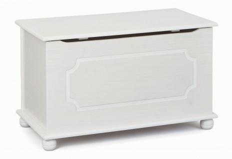 Truhe Holztruhe Massivholz Kiefer 2 Farben natur weiß 89 x 47 x 53 cm L-Era