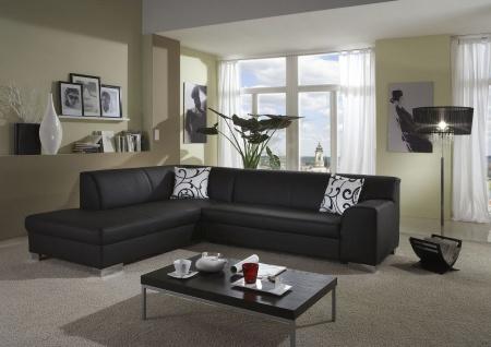 Eckcouch Bettfunktion L-Sofa Wohnlandschaft L-Form 2 Farben schwarz weiß DO-Taverna