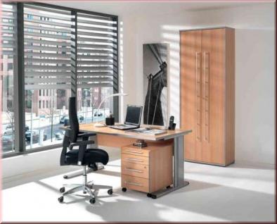 Büromöbel 3-tlg. Büroeinrichtung 4 Farben Schreibtisch Rollcontainer Aktenschrank S-W-5