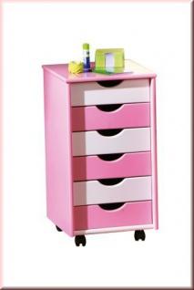 Rollcontainer Farbwahl weiß-blau weiß-pink Massivholz 6 Schubladen 4 Rollen L-Bob