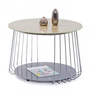 Couchtisch rund Metall verchromt Glasplatte satiniert 2 Farben weiß grau 2 Größen L-Rimini