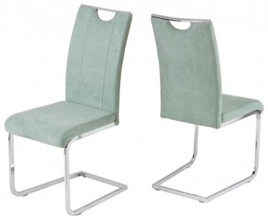 4er Pack Freischwinger Stuhl 4 Farben grau mint latte flamingo Kufengestell verchromt R-July