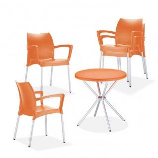 5-tlg. Sitzgruppe 4 Farben 4 Stapelsessel 1 Tisch rund CL-Gobi
