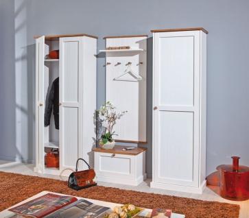 4-tlg. Garderobe Garderobenset Landhausstil Massivholz 2-farbig sepia weiß Holzmaserung L-Wendy-G2