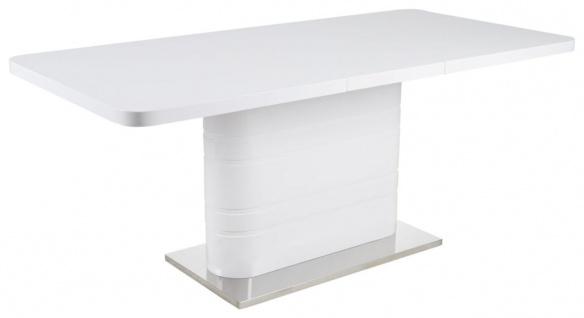 Tisch erweiterbar Esstisch 140-180 x 90 cm weiß Edelstahl Säule mittig R-Bali