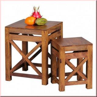 2er Set Design Beistelltisch Massivholz Sheesham handgefertigt Design Konsole W-BX1561