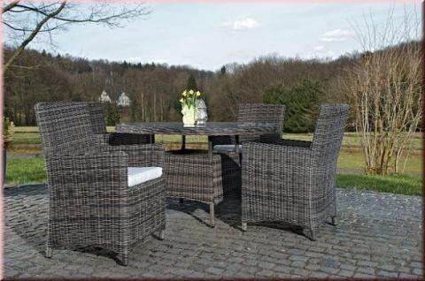 5-tlg Dining Lounge Sitzgruppe Gartenmöbelset 4x Sessel Kissen Tisch Ø 131 cm CL-Porto - Vorschau 3