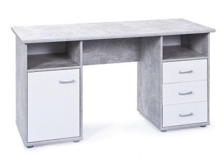 Schreibtisch Tür 3 Schubladen 2 offene Fächer Betonoptik hellgrau weiß L-Flavio