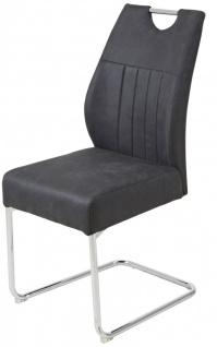4er Set Freischwinger Stuhl Federkern-Polsterung Vintage Farben beige anthrazit verchromt R-Mainau-S