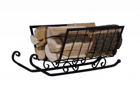 Brennholz Schlitten Stahl schwarz Kaminholzständer Holzkorb Brennholz-Aufbewahrung N-BR-131