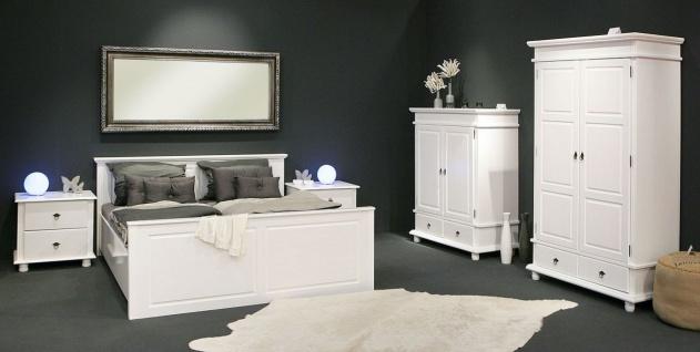 Bett Doppelbett Einzelbett 4 Größen Landhausstil Massivholz weiß Holzmaserung L-Dank-5 - Vorschau 4
