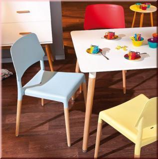 Esszimmer 5-tlg. Retro Sitzgruppe 4x Stuhl 5 Farben Tisch weiß Buche Massivholz MDF L-ThaiMay