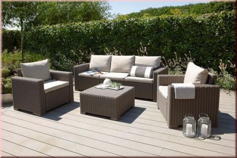 4-tlg Lounge Sitzgruppe Gartenlounge-Set 2 Sessel 3er Sofa Tisch Kissenbox Auflagen BF-Miami