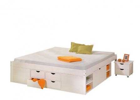 Bett Doppelbett Komforthöhe 5 Größen Massivholz weiß Lattenrost Schubkästen Nachttisch L-Telli - Vorschau 2