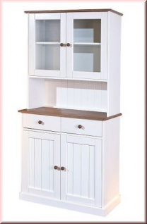 Vitrine Buffet Landhausstil Massivholz Farbmix sepia-braun weiß Holzmaserung L-Wendy-5