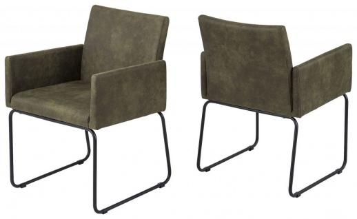 2er Set Stühle Armlehnen Stuhl grün beige Esszimmerstuhl belastbar 120 kg R-Nico