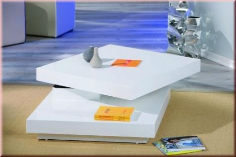 Couchtisch 2 Farben 2 Ebenen Tischplatte drehbar Hochglanz weiß marsala L-Dumani