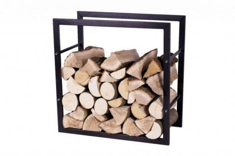 Brennholzregal 2 Größen quadratisch Stahl schwarz Kaminholzständer Kaminholzregal N-BR-123