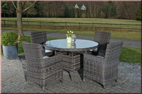 5-tlg Dining Lounge Sitzgruppe Gartenmöbelset 4x Sessel Kissen Tisch Ø 131 cm CL-Porto